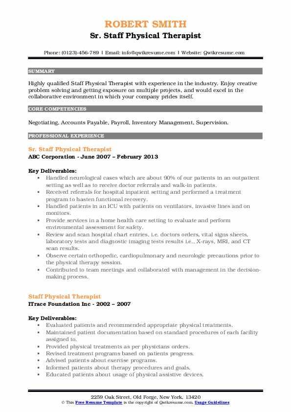 Sr. Staff Physical Therapist Resume Model
