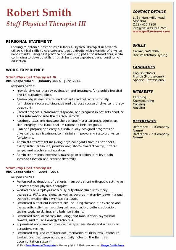 Staff Physical Therapist III Resume Example