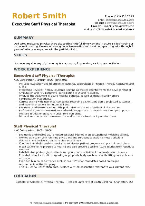 Executive Staff Physical Therapist Resume Template