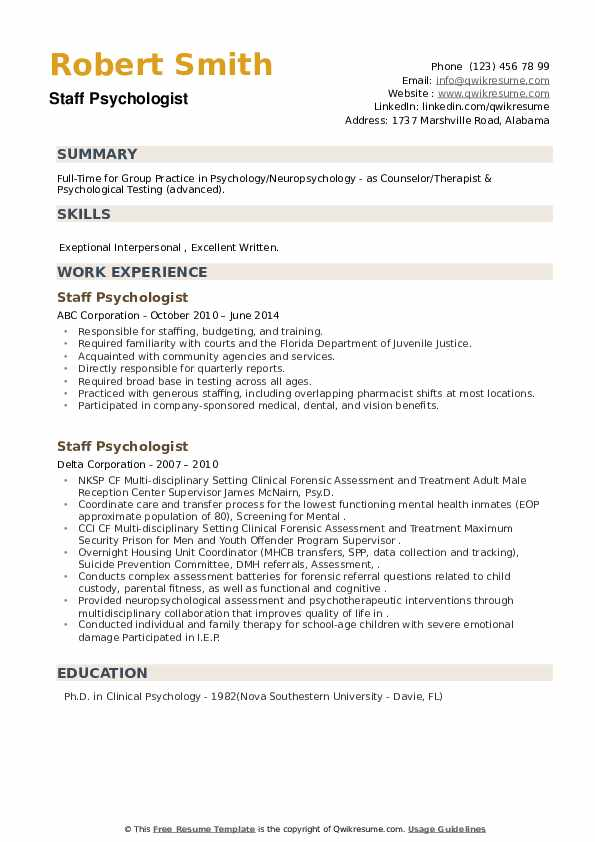 Staff Psychologist Resume example