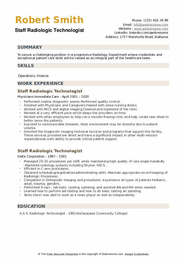 Staff Radiologic Technologist Resume example