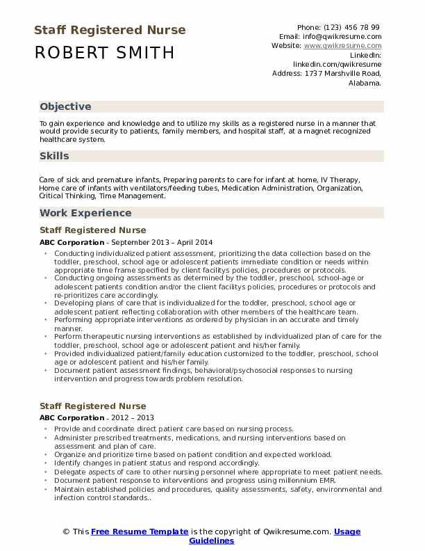 Staff Registered Nurse Resume Template
