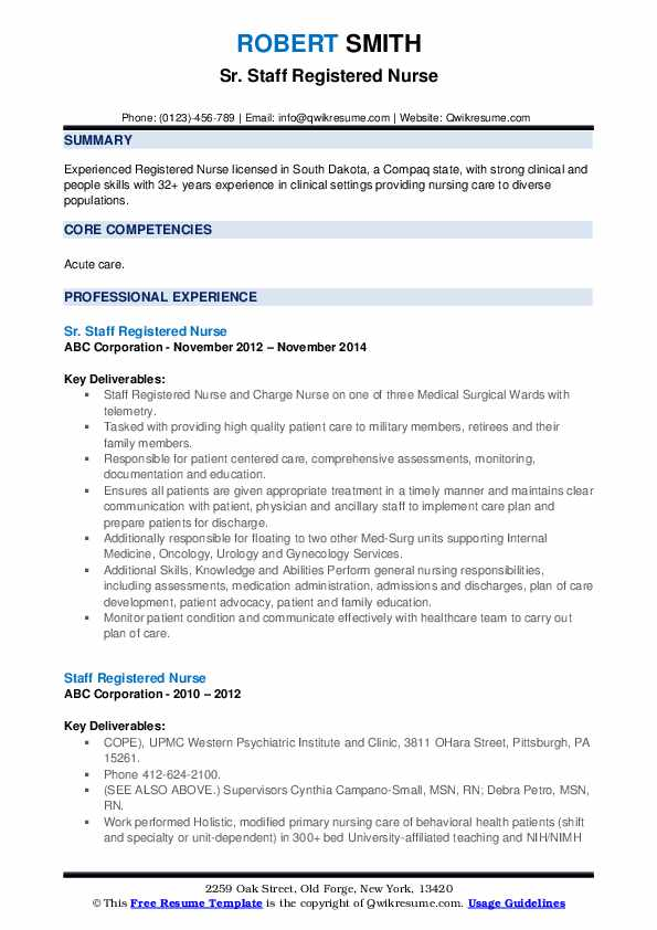 Sr. Staff Registered Nurse Resume Example