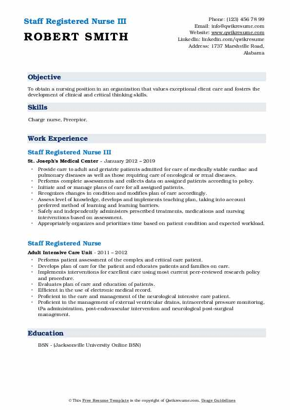 Staff Registered Nurse III Resume Model