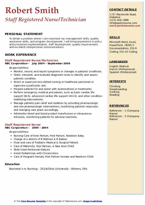 Staff Registered Nurse/Technician Resume Template