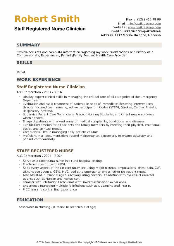 Staff Registered Nurse Clinician Resume Example