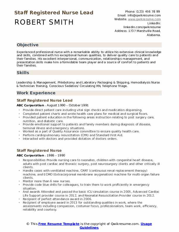 Staff Registered Nurse Lead Resume Format