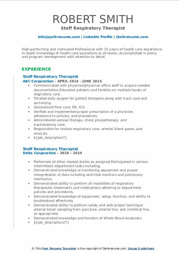 staff respiratory therapist resume samples  qwikresume