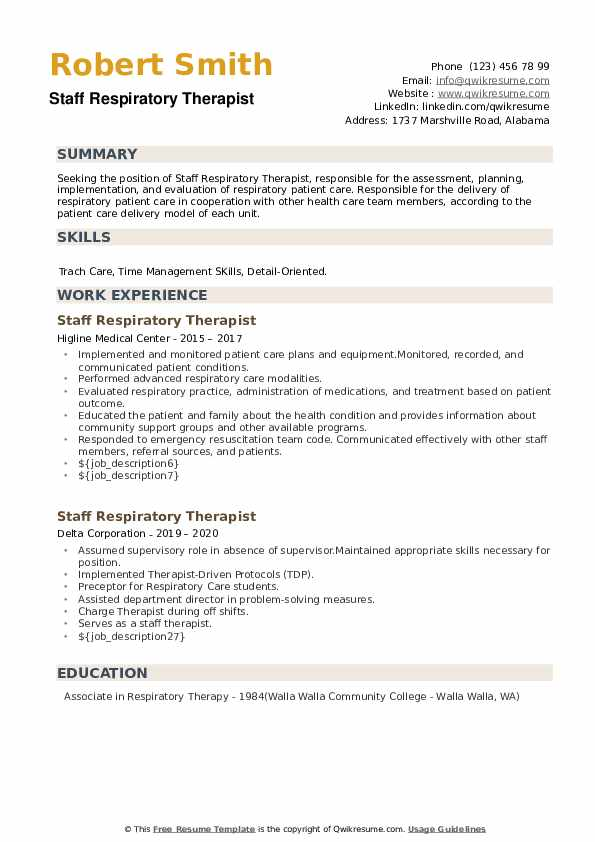 Staff Respiratory Therapist Resume example