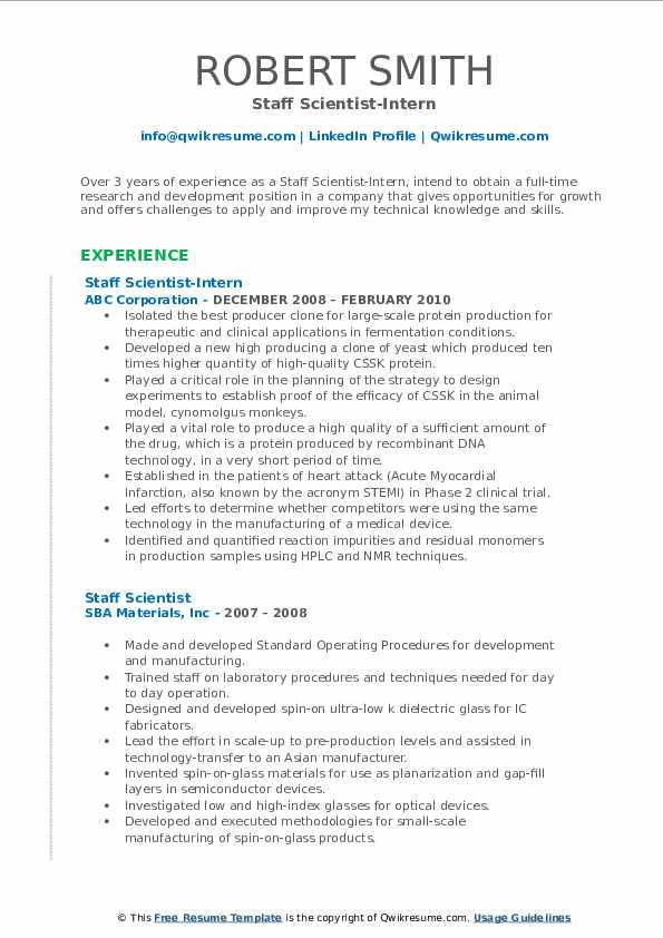 Staff Scientist-Intern Resume Model