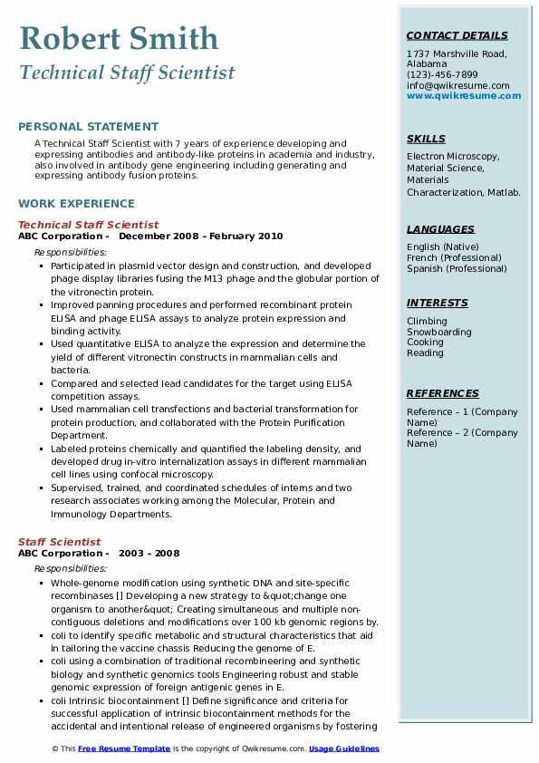 Technical Staff Scientist Resume Format