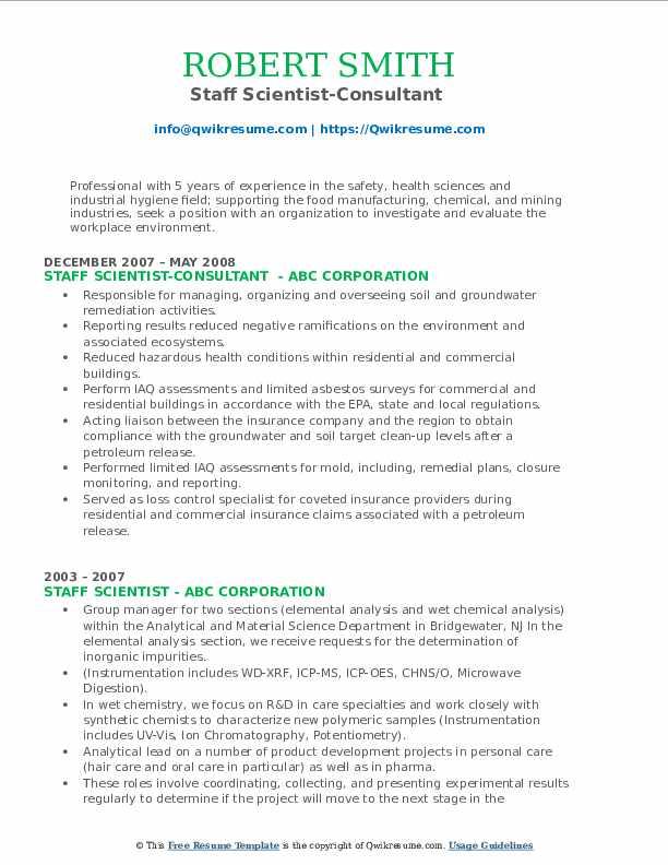 Staff Scientist-Consultant  Resume Model