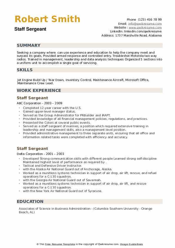 Staff Sergeant Resume example
