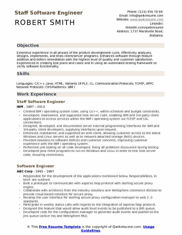 Staff Software Engineer Resume Samples