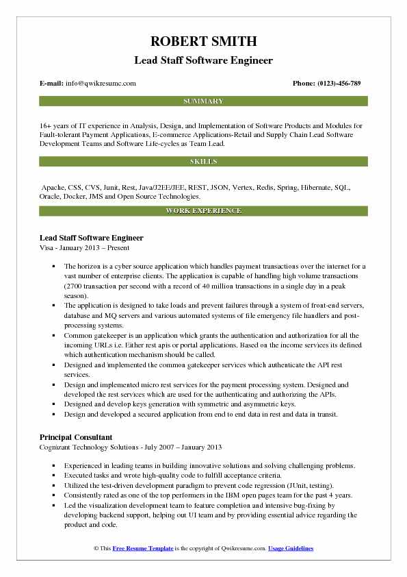 Lead Staff Software Engineer Resume Example