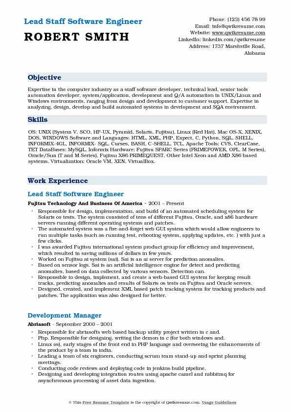 Lead Staff Software Engineer Resume Template