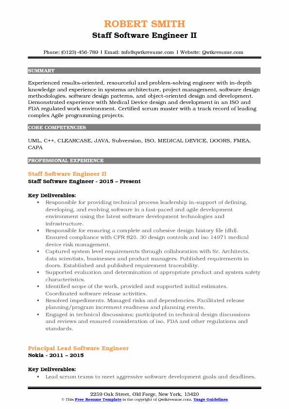 Staff Software Engineer II Resume Model