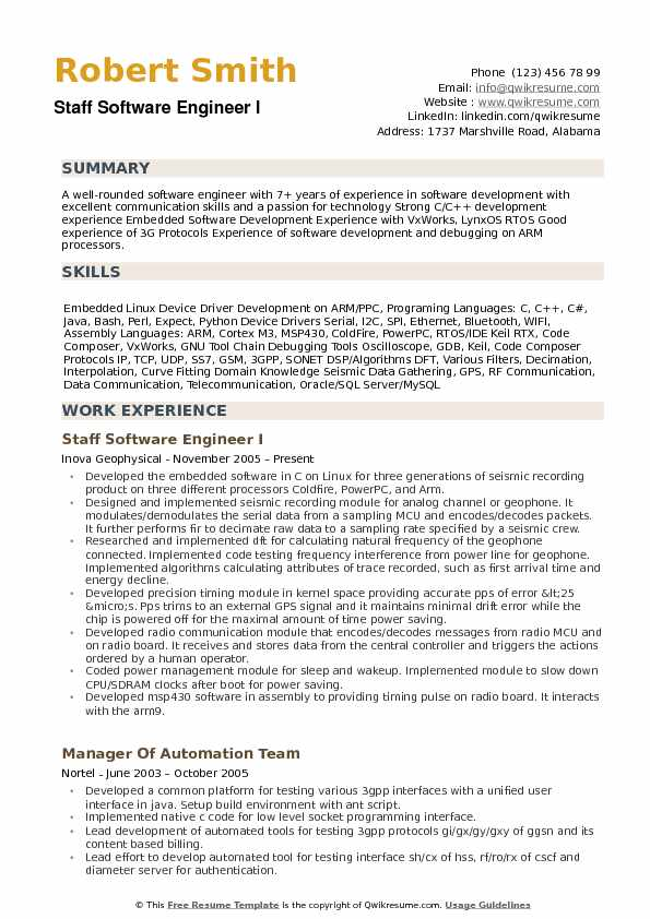Staff Software Engineer Resume Samples | QwikResume