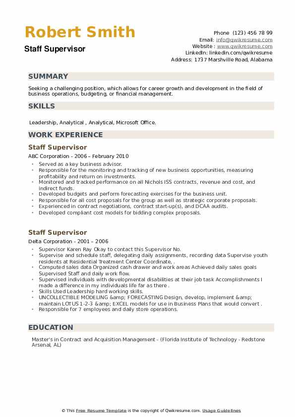 Staff Supervisor Resume example