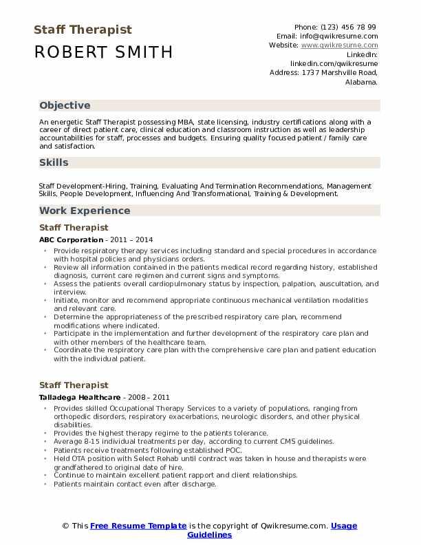 Staff Therapist Resume Template