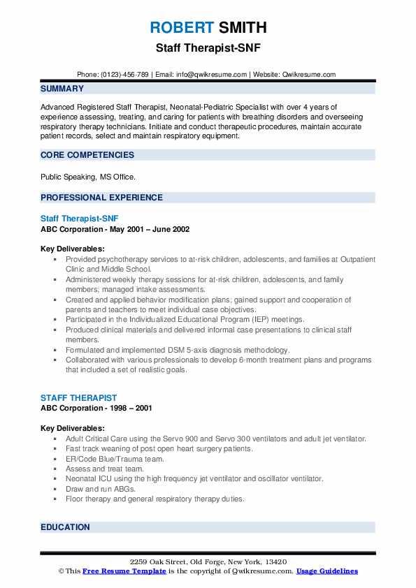Staff Therapist-SNF Resume Format