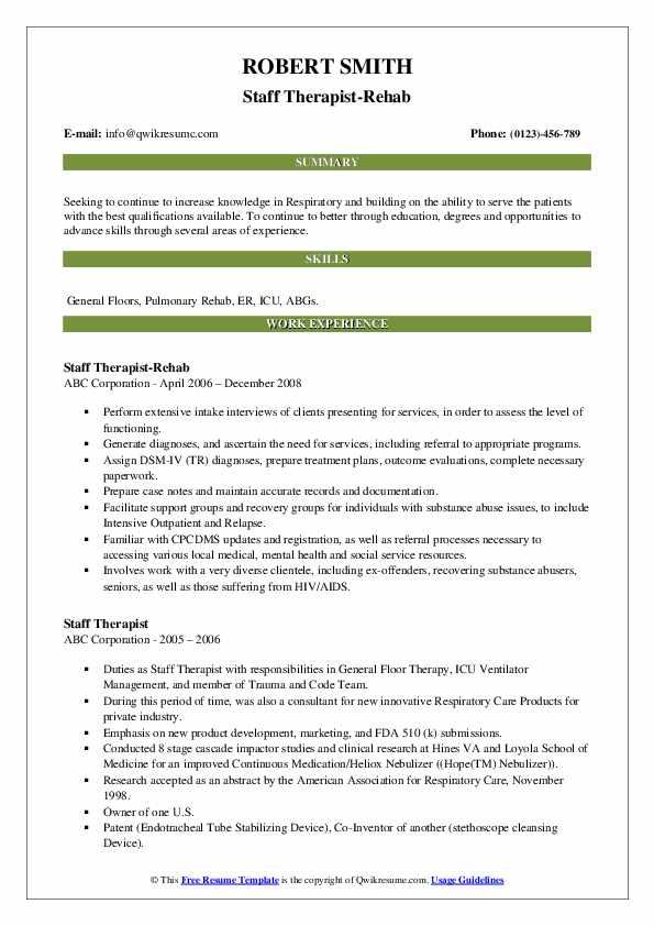 Staff Therapist-Rehab Resume Model