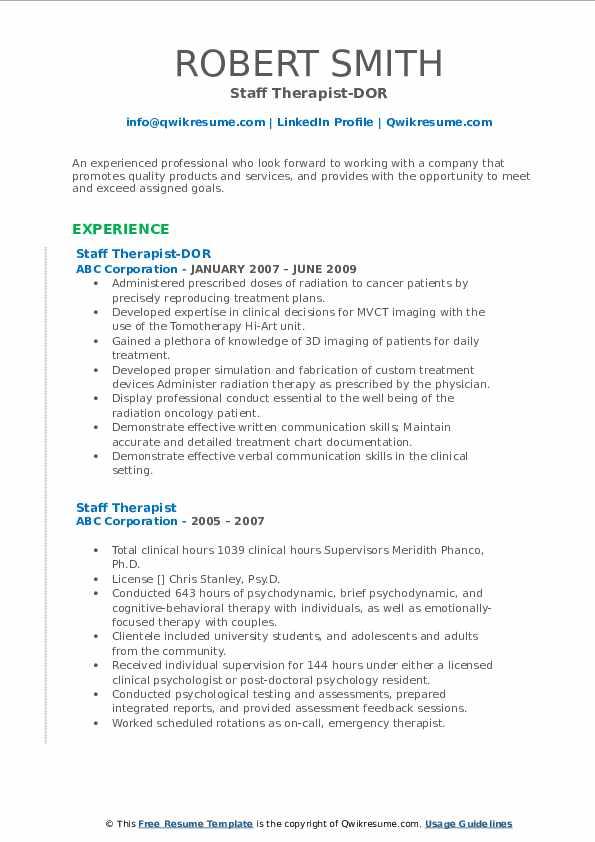 Staff Therapist-DOR Resume Model