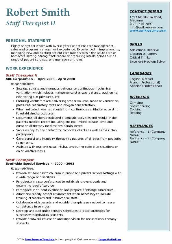 Staff Therapist II Resume Template