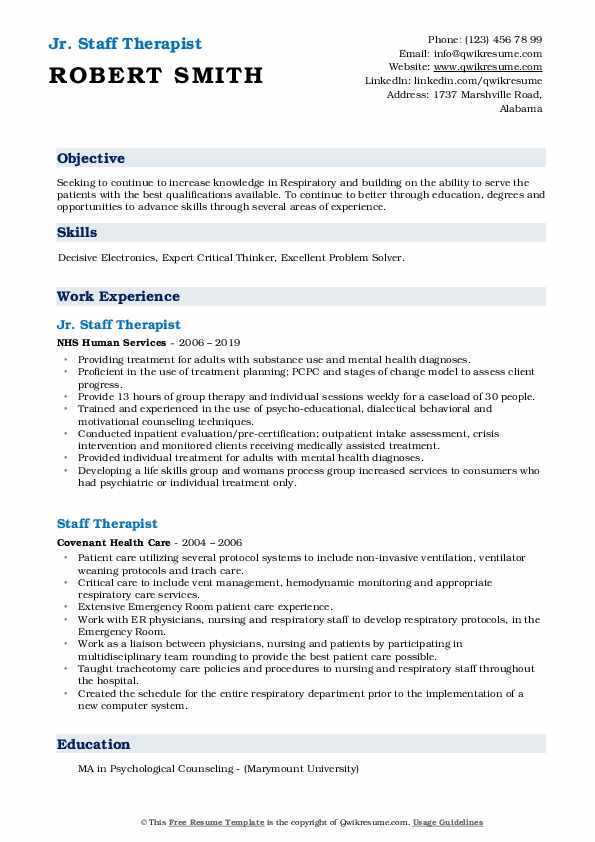Jr. Staff Therapist Resume Model