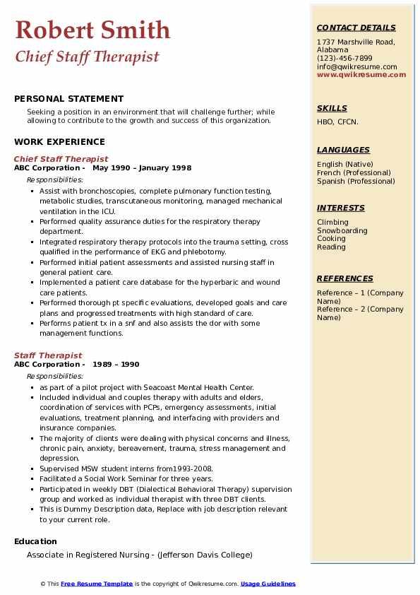 Chief Staff Therapist Resume Sample