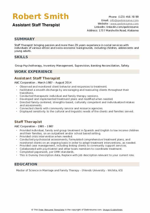 Assistant Staff Therapist Resume Format