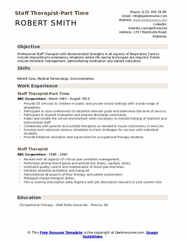 Staff Therapist-Part Time Resume Example