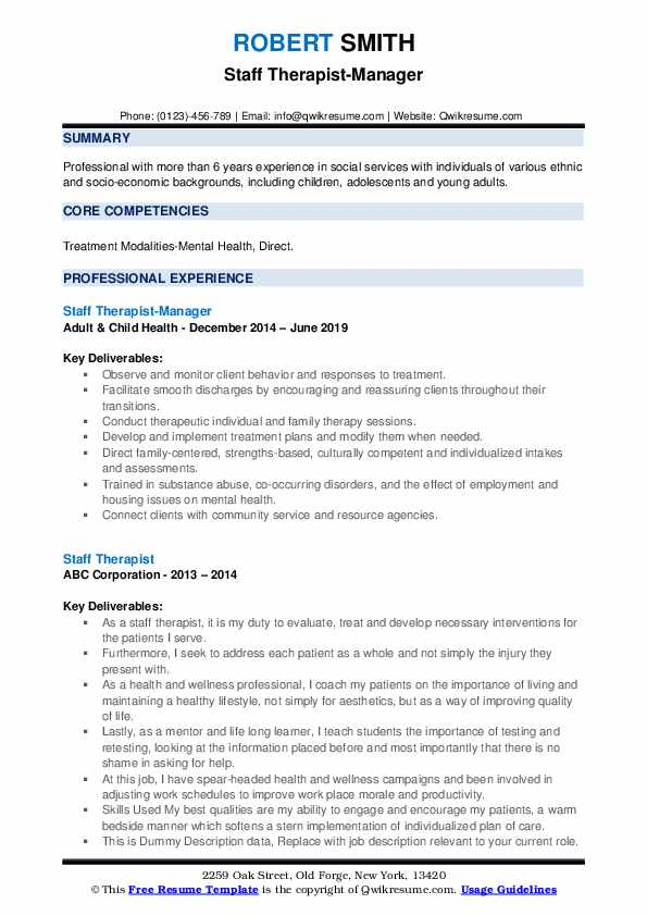 Staff Therapist-Manager Resume Model