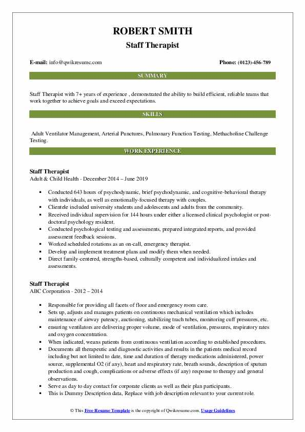 Staff Therapist Resume example