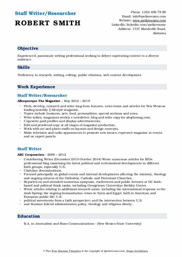 Staff Writer/Researcher Resume Example