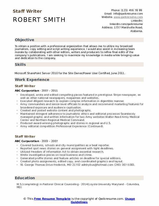 Staff Writer Resume example