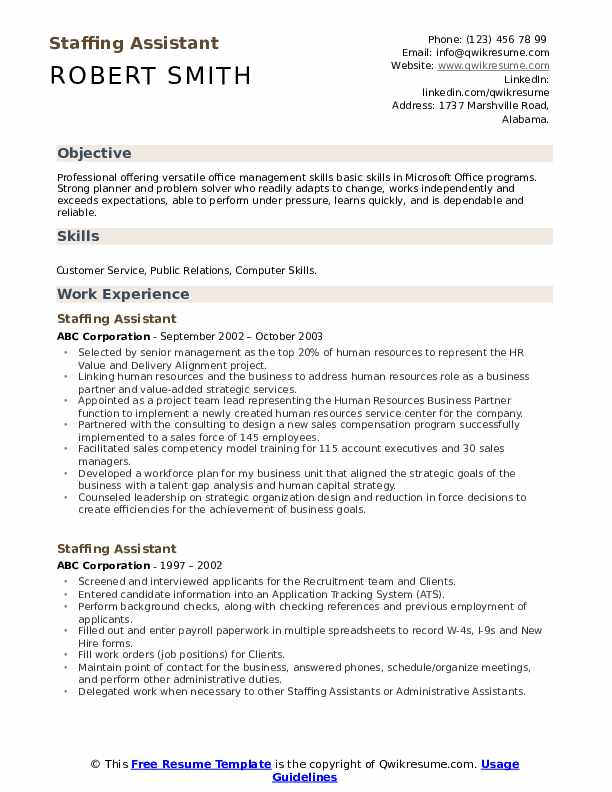 Staffing Assistant Resume Template
