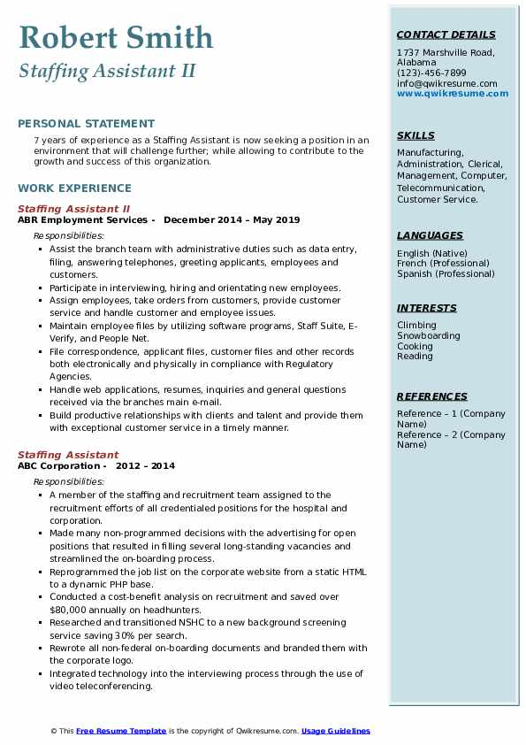 Staffing Assistant II Resume Sample