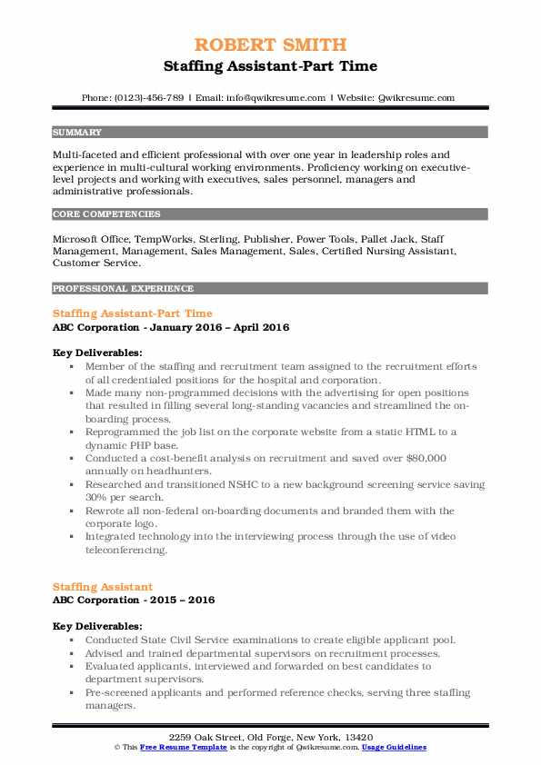 Staffing Assistant-Part Time Resume Format