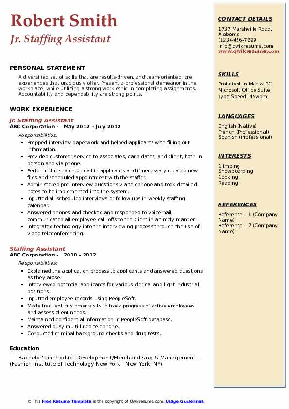 Jr. Staffing Assistant  Resume Template