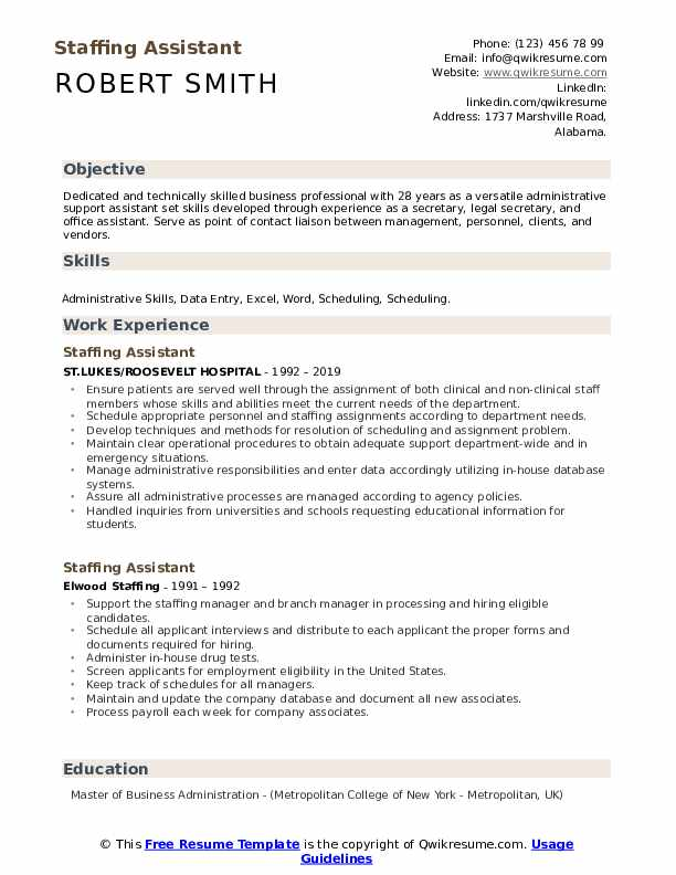Staffing Assistant Resume example