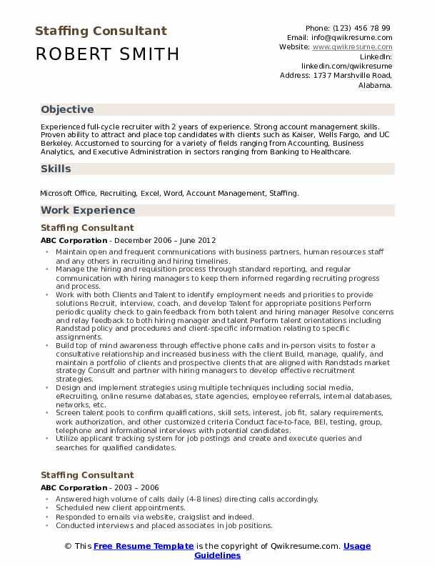 Staffing Consultant Resume Format