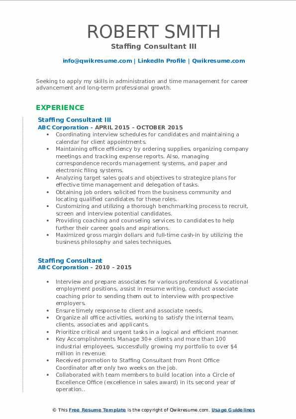 Staffing Consultant III Resume Template