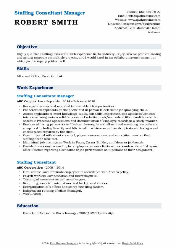 Staffing Consultant Resume Samples | QwikResume
