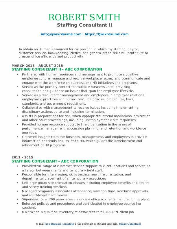Staffing Consultant II Resume Sample