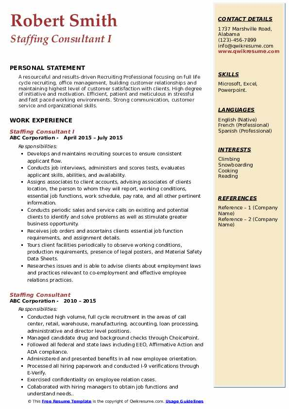 Staffing Consultant I Resume Example