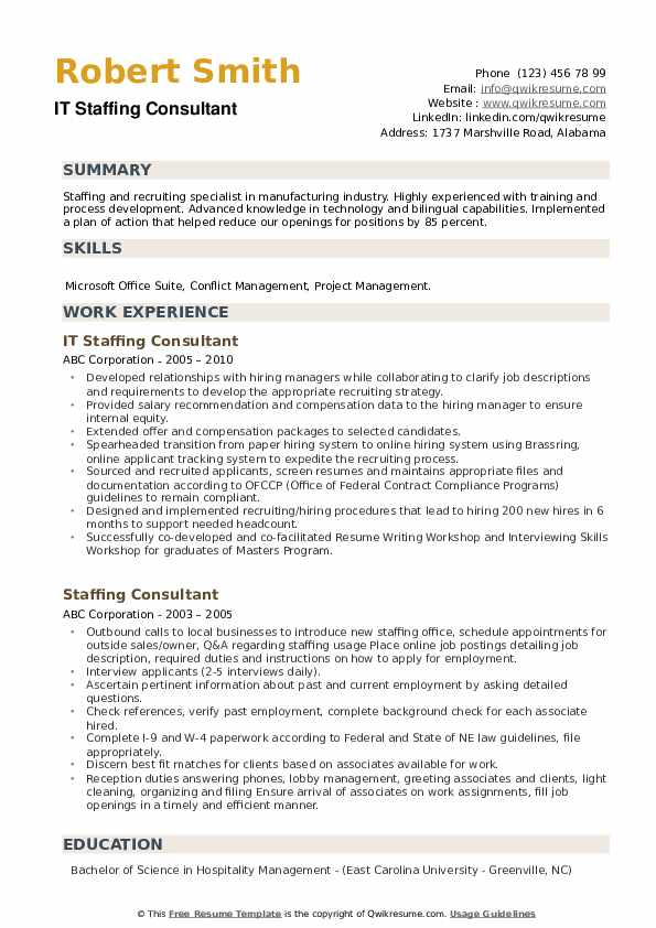 IT Staffing Consultant Resume Template