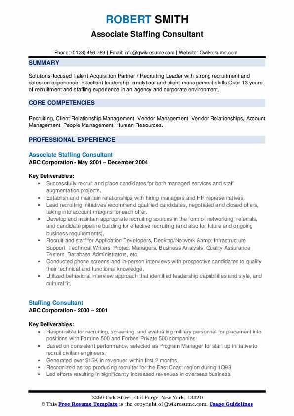 Associate Staffing Consultant Resume Sample