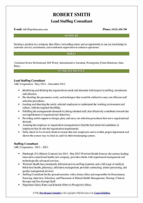 Lead Staffing Consultant Resume Sample