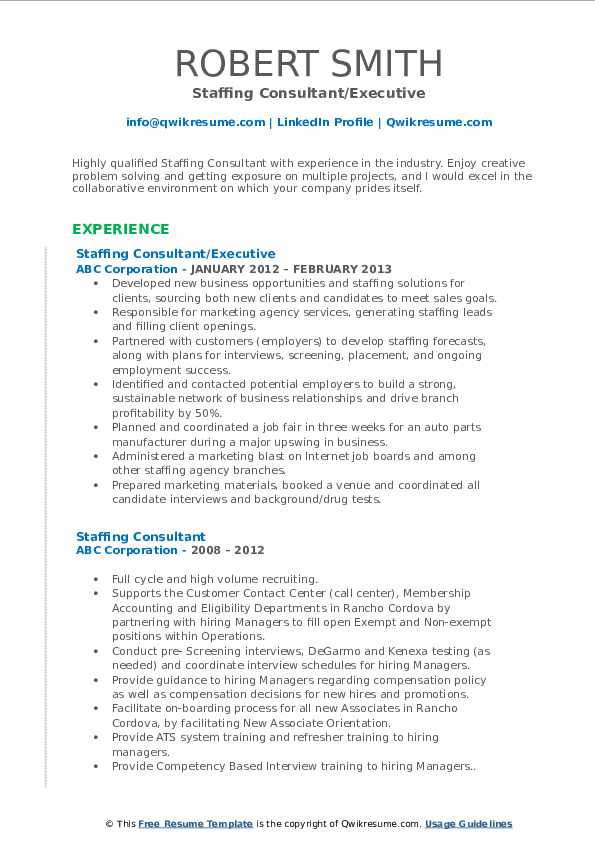 Staffing Consultant/Executive Resume Model